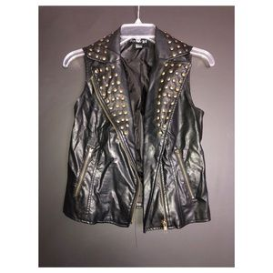 Faux Leather Studded Vest